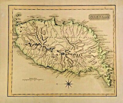 Genuine Antique Map of Grenada 1818, Rare. Frameable. Great Condition.