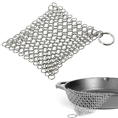 1pc Stainless Steel Skillet Cast Iron Kitchen Cleaning Chainmail Ringer Scrubber