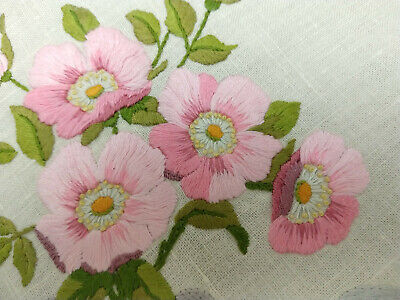 Gorgeous Pink Tea Roses Hand Embroidered Centrepiece