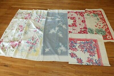 Vtg Lot Of 6 Printed Square Floral Tablecloths Stained Holes Cutters 40s 50s