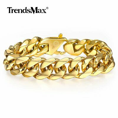 13/15mm Mens Gold Plated 316L Stainless Steel Curb Bracelet Mens Chain Jewelry