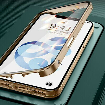 360° Full Magnetic Adsorption Flip Metal Frame Tempered Glass Phone Case Cover