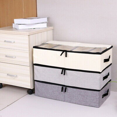 Large Foldable Canvas Storage Box Fabric Clothes Basket Organiser With Lid AU