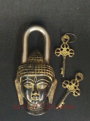 Collection Ancient Chinese Tibet Copper Buddha Head Lock Furniture Decoration