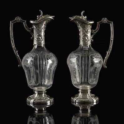 Splendid Pair French Etched Glass & Silver Plate Claret Jugs