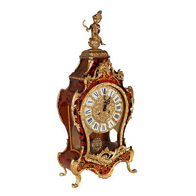 Table Clock Boulle Style Gilded Bronze Italy 20th Century