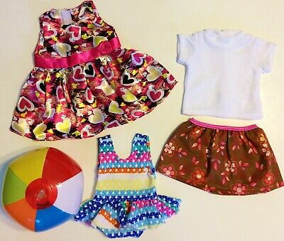 """Doll Clothes LOT Fits 18"""" American Girl 3 Outfits Dress Top Skirt Swimsuit NEW"""