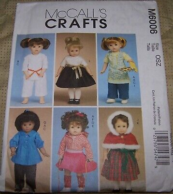 """McCALLS DOLL CLOTHING PATTERNS FOR 18"""" DOLLS - GREAT PATTERNS"""