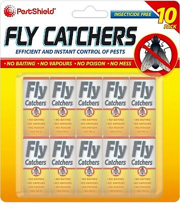 PestShield 10 Pack Fly Catchers Insect Bugs Wasp Pest Sticky Paper Trap Strips