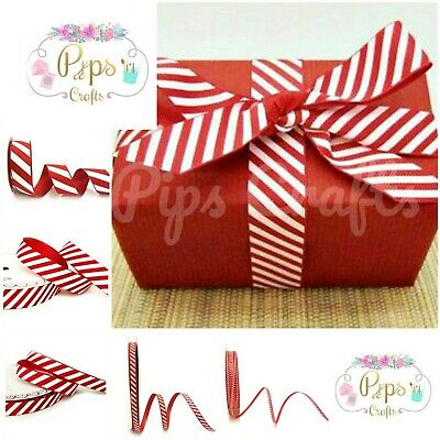 Candy Cane Stripe Ribbon 6 Widths - 3m & Full Rolls Christmas Crafts Wrapping