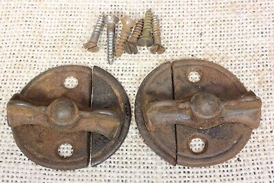 "2 Cupboard cabinet door Turn button Latches 1 7/8"" back plate rustic 1800's"