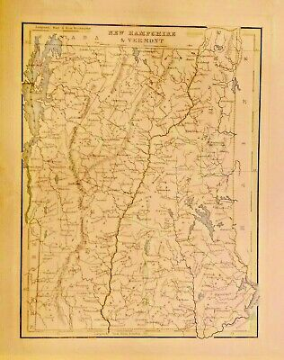 Genuine Antique Map of NEW HAMPSHIRE AND VERMONT 1835.GREAT SHAPE FRAMEABLE.