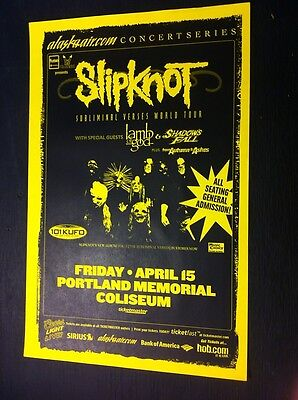 Slipknot Lamb Of God Portland Oregon Rare Heavy Metal Concert Tour Gig Poster