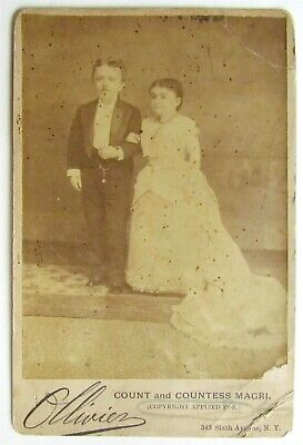 MIDGETS COUNT & COUNTESS MAGRI ANTIQUE CABINET PHOTO rare