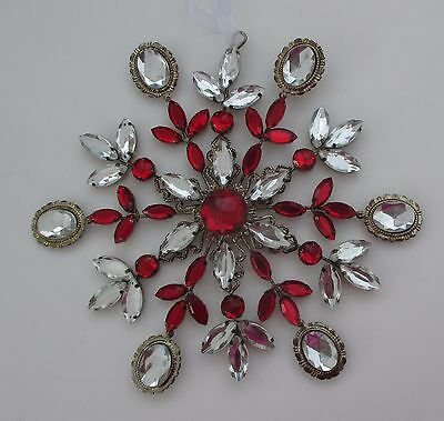 v Red GIANT GEM SNOWFLAKE VINTAGE LOOK Christmas Ornament Crystal expressions