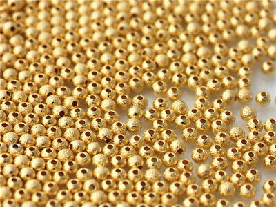 500pcs Gold plated Matte Beads Charms Spacer Bracelet necklace DIY Findings 3mm