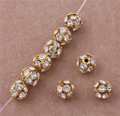 50 pcs New Gold Plated Rhinestone Pave Spacer Beads Charms Jewelry Findings 6mm
