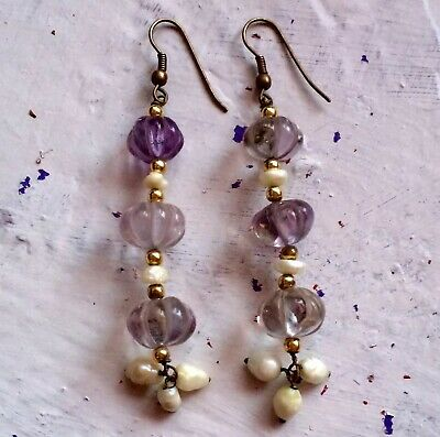 Victorian Carved Amethyst And Real Pearl Earrings Pumpkin Beads Stunning!