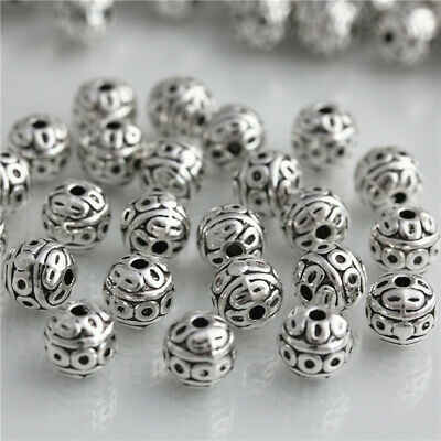 25 pcs 8mm Tibetan silver spacer Loose Beads Bracelets Charms Jewelry Findings