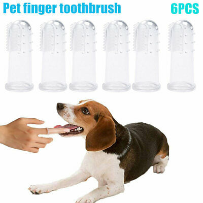 6xDog Cat Soft Finger Toothbrush Food Grade Material for Pet Health Brush Supply