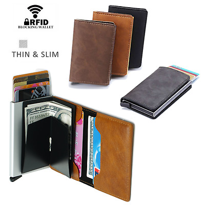 Leather Pop-up Purse Credit Card Holder Wallet RFID Blocking Metal Money Clip ol