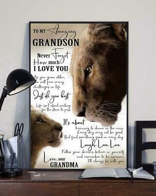 The Lion King To My Grandson Never Forget That I Love You Satin Poster No Frame