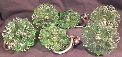 Vintage Czechoslovakian 3 Pairs (6) Of Glass Curtain Tie Backs Green 4 1/4""
