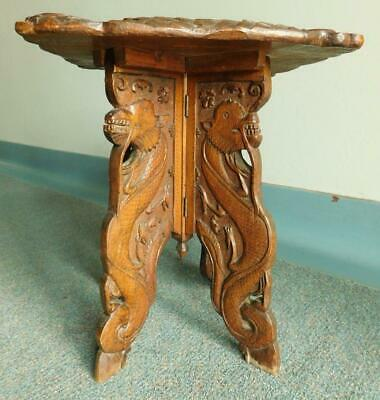 Antique Carved 1900s Chinese Wooden Folding Occasional 'Dragon' Table