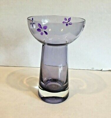 Hyacinth Vase Purple Cased Glass With Flowers Heavy Base  Hand Blown Vintage