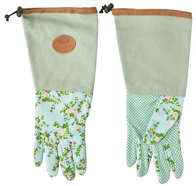 Esschert's Garden Womens Floral Rose Gauntlet Long Cuff  Gardening Gloves - Pair