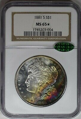1881 S Morgan Silver Dollar $1 Ngc & Cac Certified Ms 65 * Star Pl? Color (004)