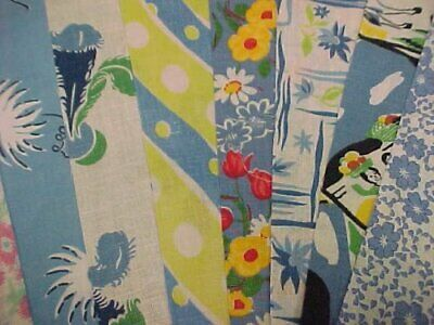 """BEST 20 Vintage ALL BLUE  Feedsack Fabric Quilt  5 x 8"""" Flour Sack Material 40s"""