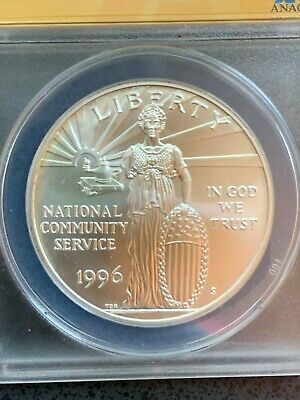 1996 S MS 69 $1 National Community Service Silver Dollar ANACS Rare Lust Graded
