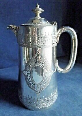 Good LARGE Engraved ~ SILVER Plated ~ BULBOUS Juice / Water JUG ~ c1890