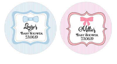Personalised Baby Shower Boy Blue Bow Tie & Girl Pink Bow Round Stickers Labels