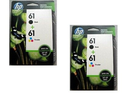 (2) HP #61 2pack Combos Ink Cartridges 61 Black and Color NEW GENUINE