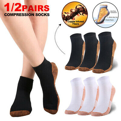 Copper Ankle Foot Sleeves Compression Socks Plantar Fasciitis Achy Swelling AU