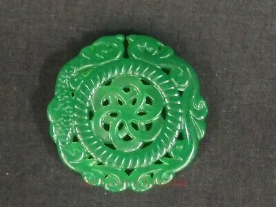 Collection Old Chinese Natural Green Jade Carving Dragon Phenix Necklace Pendant