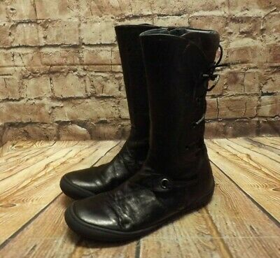 Girls Rondinella Brown Leather Flat Zip Fastening Mid Calf Boots UK 3 EUR 36