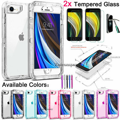 For iPhone 8 7 6s Plus X XS Max XR Shockproof Heavy Duty Clear Phone Case Cover