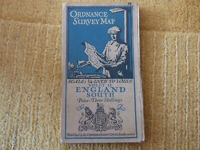 Old Collectable Os Ordnance Survey Map Atlas England South 1924 #11 Free Uk P+P