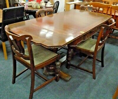 Antique Victorian Style Solid Mahogany Extending Dining Table & 4x Chairs - N37