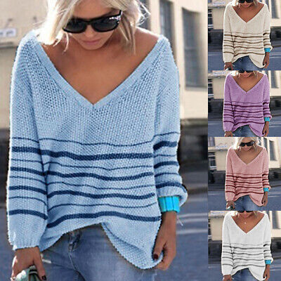 Damen Winter Pullover Pulli Strickpullover Jumper Jacke Sweater Longtop Oberteil