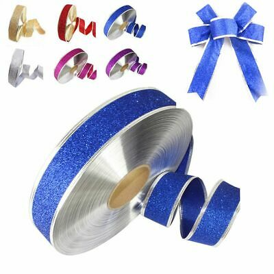 Christmas Favors Party Decoration Silk Glitter Ribbon Card Decor Gift Wrapping