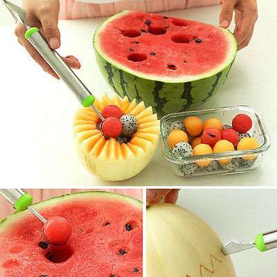 Stainless Steel Ice Cream Double-End Scoop Spoon Melon Baller Cutter Fruit 27A9H