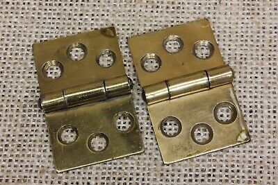 "2 Cabinet door Hinges vintage BRASS Bronzed Butts 1 1/8 x 1 3/4"" light old stock"