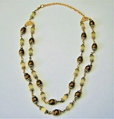 J114:)Vintage Art Deco Czech Frosted & gold cut glass bead 2 tier necklace