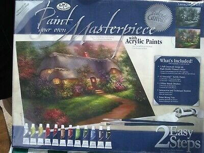 Paint Your Own Masterpiece, Acrylic Paints, Real Canvas, Cottage Picture