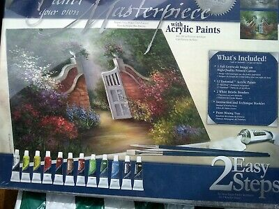 Paint Your Own Masterpiece, Acrylic Paints, Real Canvas, Garden Gate Picture