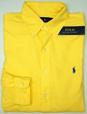 NWT $89 Polo Ralph Lauren Yellow Long Sleeve Oxford Cotton Shirt Mens Size S NEW
